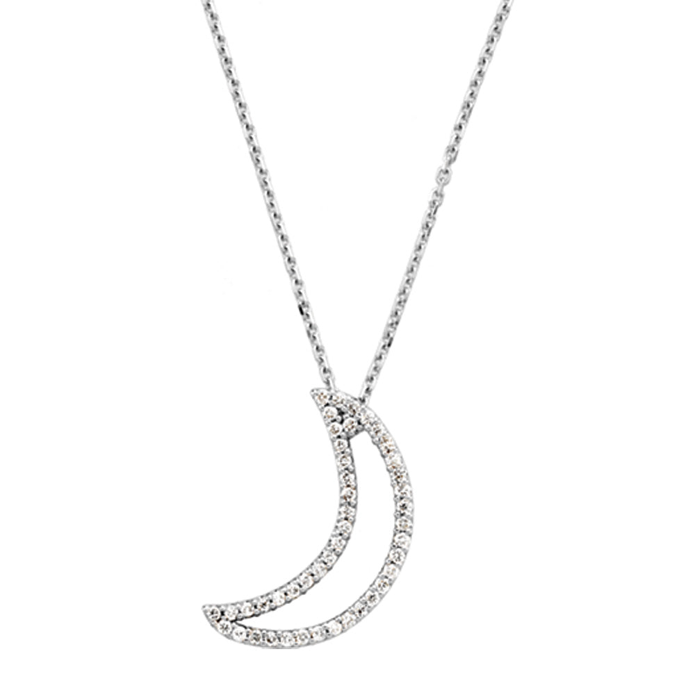 1/5 cttw Diamond Moon Necklace in 14k White Gold, Item N9142 by The Black Bow Jewelry Co.