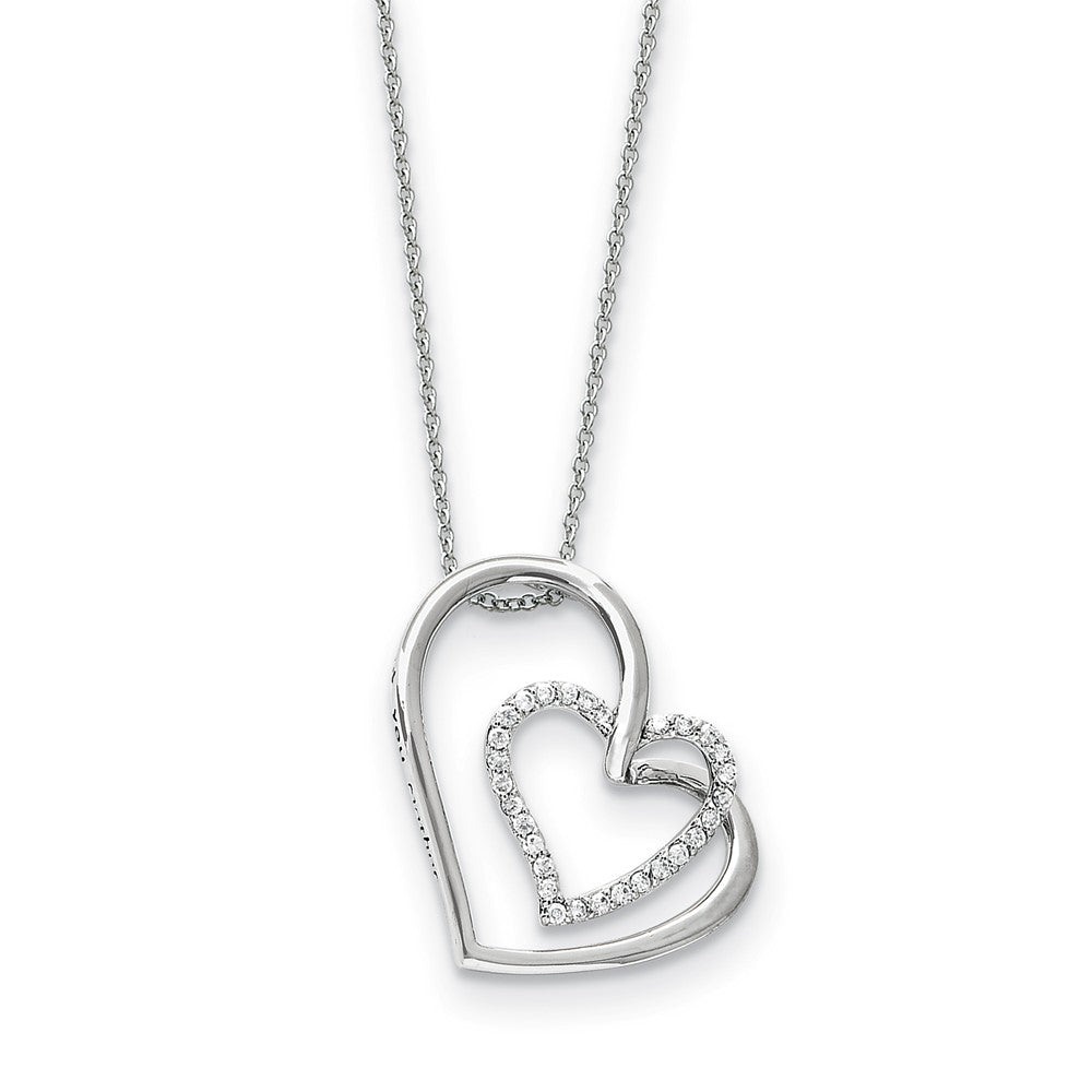 Rhodium Plated Sterling Silver & CZ Thank You Mother Necklace, 18 Inch, Item N9333 by The Black Bow Jewelry Co.
