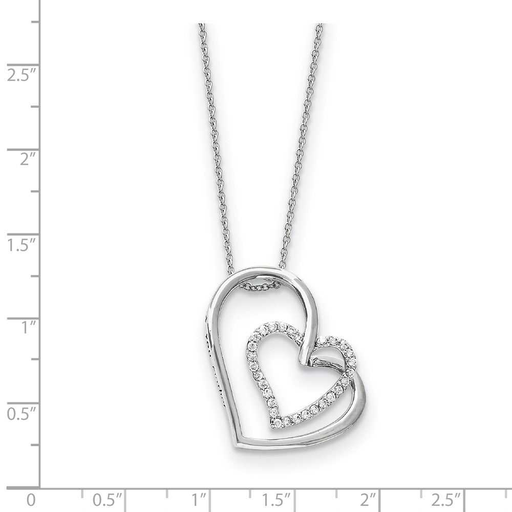 Alternate view of the Rhodium Plated Sterling Silver & CZ Thank You Mother Necklace, 18 Inch by The Black Bow Jewelry Co.