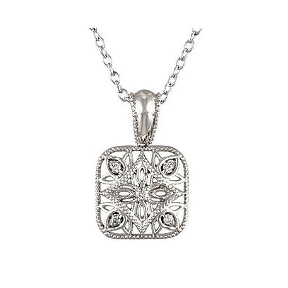 Vintage Style Diamond Square Necklace in Sterling Silver, Item N9608 by The Black Bow Jewelry Co.