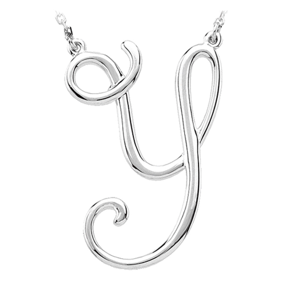 14k White Gold, Olivia Collection, Medium Script Initial Y Necklace, Item N9627-Y by The Black Bow Jewelry Co.