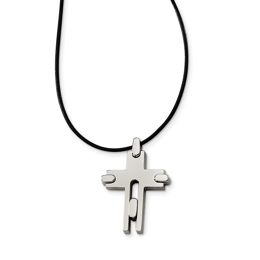 Titanium Cross and Black Leather Cord Necklace 18 Inch, Item N9653 by The Black Bow Jewelry Co.