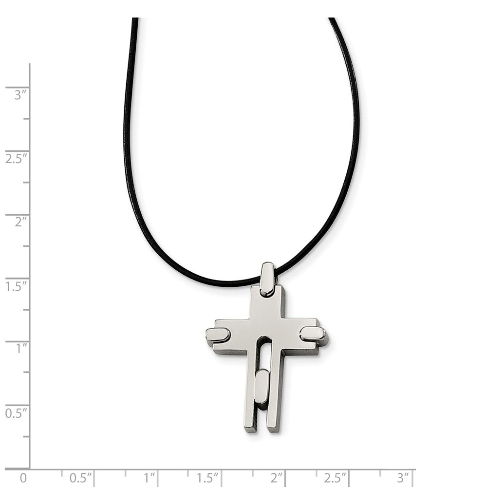 Alternate view of the Titanium Cross and Black Leather Cord Necklace 18 Inch by The Black Bow Jewelry Co.