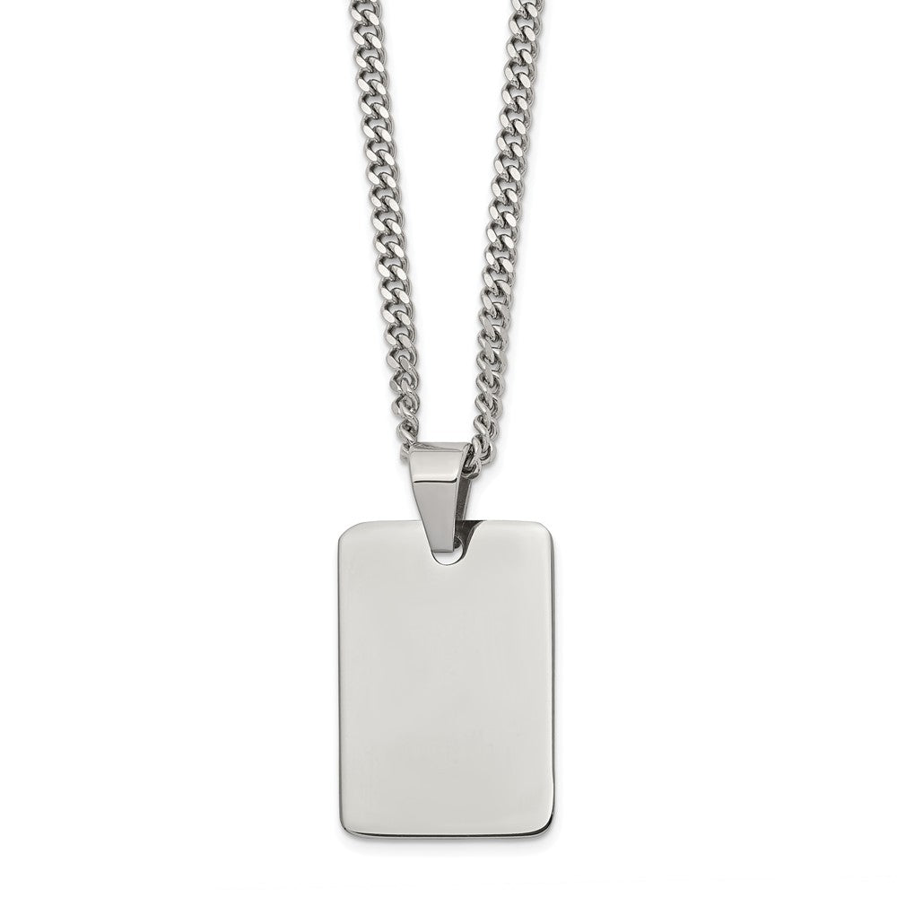 Polished Steel Engravable Dog Tag and Curb Chain Necklace - 24 Inch, Item N9675 by The Black Bow Jewelry Co.