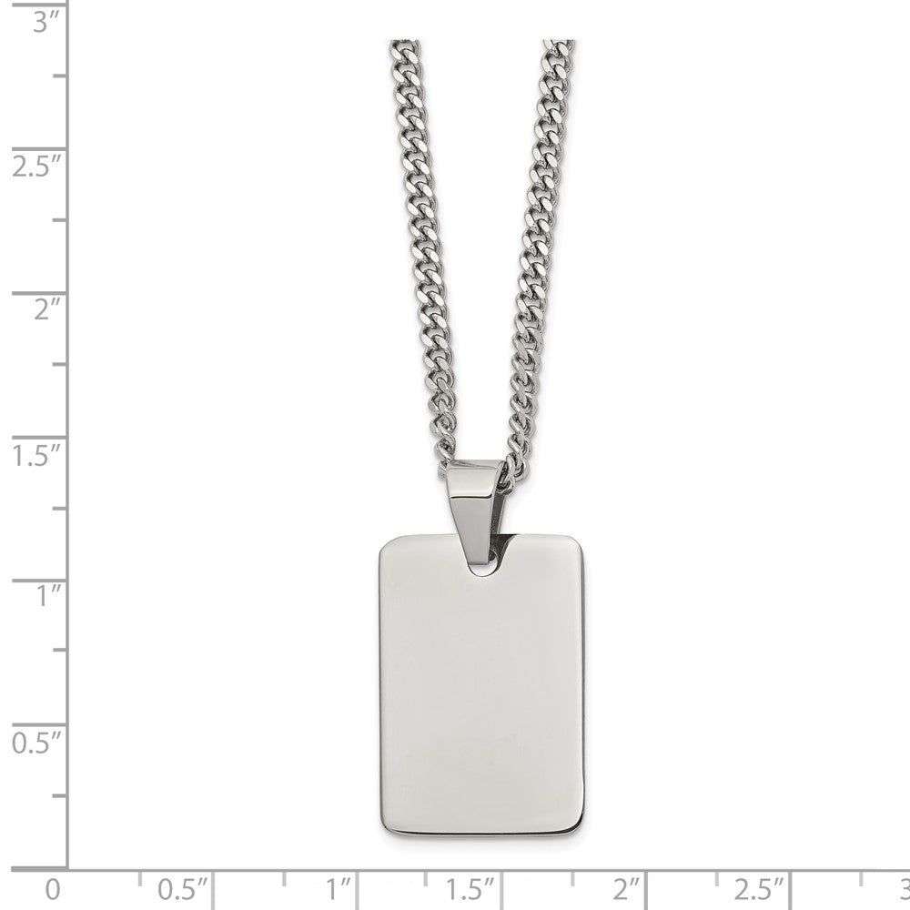 Alternate view of the Polished Steel Engravable Dog Tag and Curb Chain Necklace - 24 Inch by The Black Bow Jewelry Co.