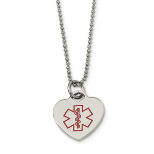 Stainless Steel Heart Shaped Medical Alert Necklace - 22 Inch - The Black Bow Jewelry Co.