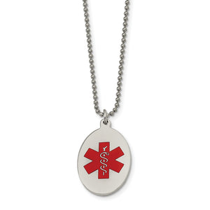 Stainless Steel Oval Medical Alert Necklace - 22 Inch - The Black Bow Jewelry Co.