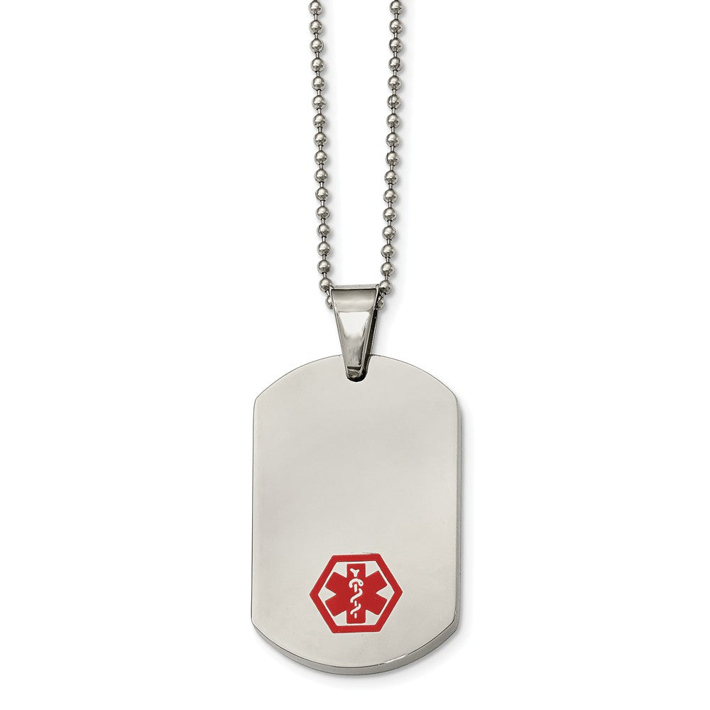 Stainless Steel Large Dog Tag Medical Alert Necklace - 24 Inch, Item N9750 by The Black Bow Jewelry Co.