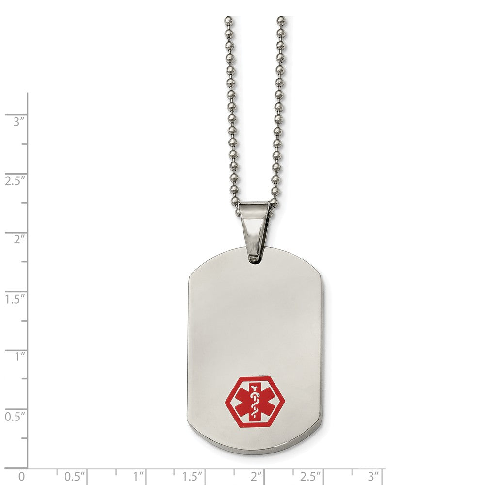 Alternate view of the Stainless Steel Large Dog Tag Medical Alert Necklace - 24 Inch by The Black Bow Jewelry Co.