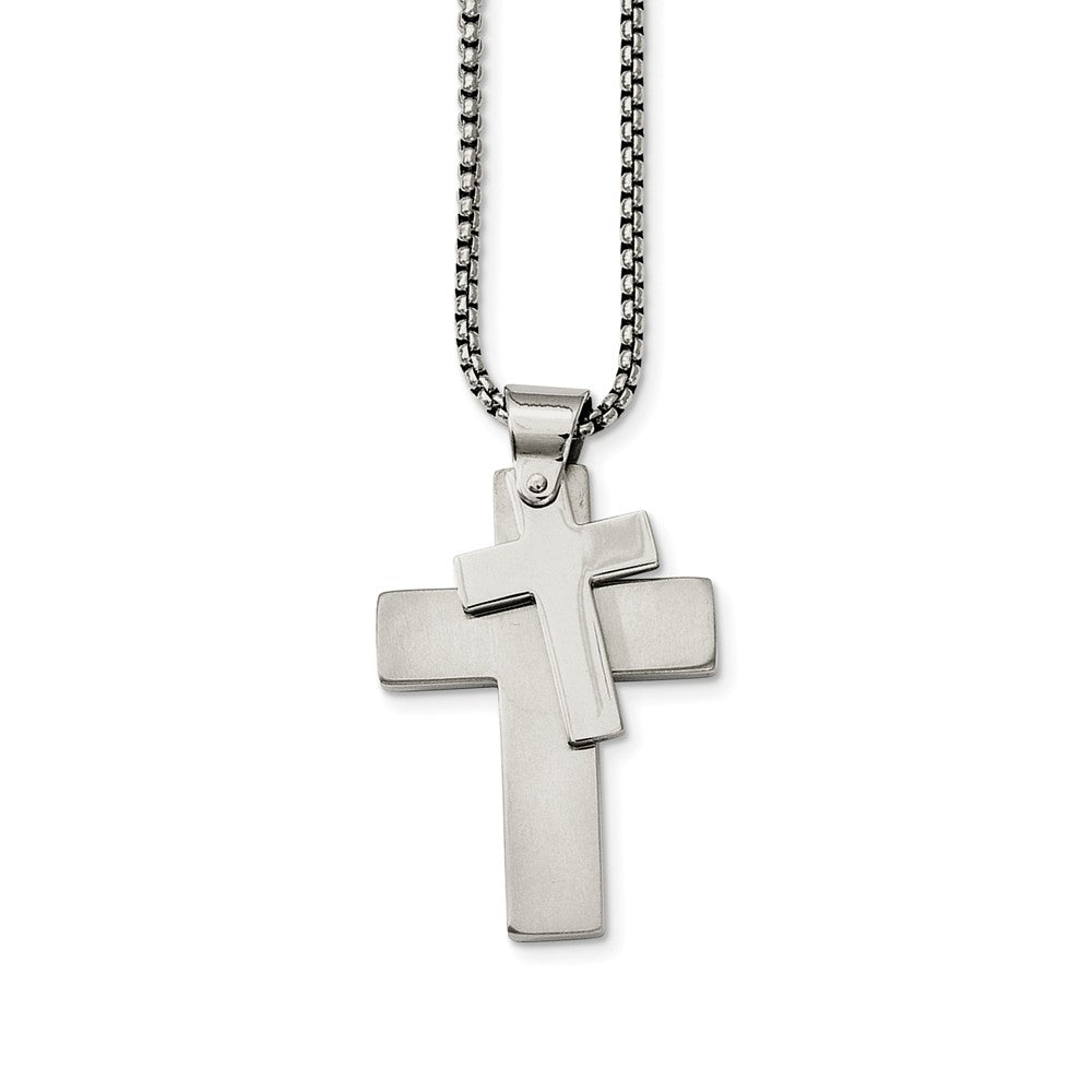 Stainless Steel Polished Double Cross Necklace - 24 Inch, Item N9773 by The Black Bow Jewelry Co.