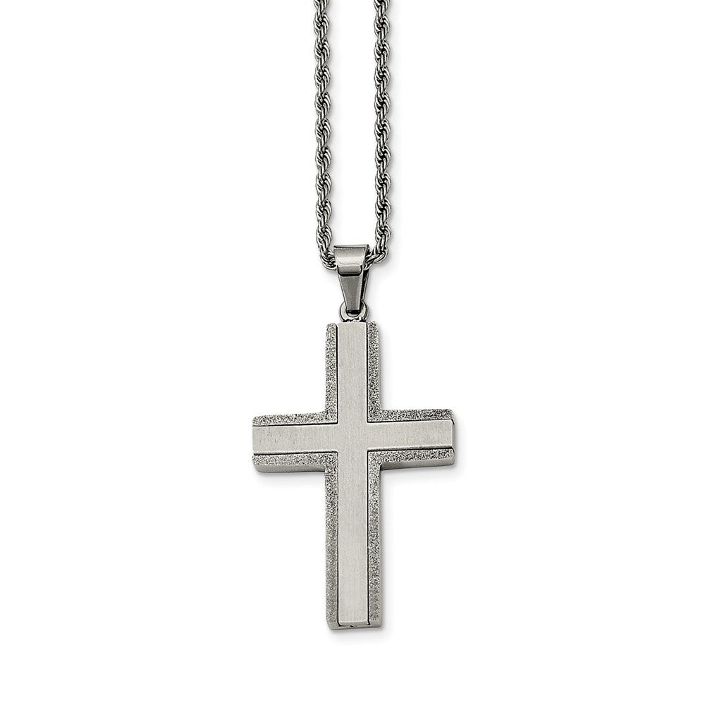 Stainless Steel Laser Cut Edges Cross Necklace - 24 Inch, Item N9776 by The Black Bow Jewelry Co.