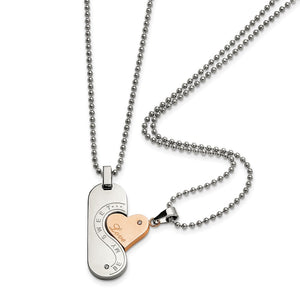 Stainless Steel & Rose Gold Tone Plated CZ Pendant Set Necklace, 22 In - The Black Bow Jewelry Co.
