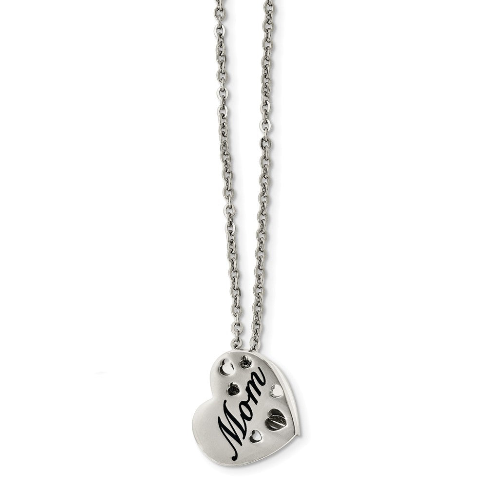 Stainless Steel Mom Heart Slide Pendant Necklace - 20 Inch, Item N9785 by The Black Bow Jewelry Co.