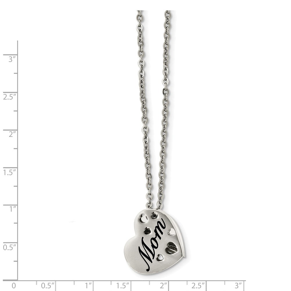 Alternate view of the Stainless Steel Mom Heart Slide Pendant Necklace - 20 Inch by The Black Bow Jewelry Co.