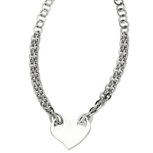 Stainless Steel Engravable Polished Heart Necklace - 20 Inch - The Black Bow Jewelry Co.