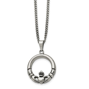 Stainless Steel Claddagh Circle Pendant Necklace - 22 Inch - The Black Bow Jewelry Co.