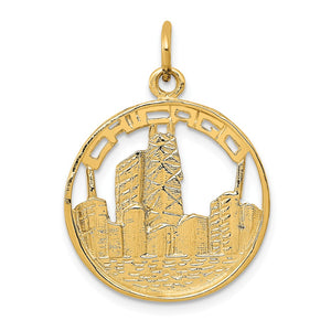 14k Yellow Gold Chicago Skyline Circle Charm - The Black Bow Jewelry Co.