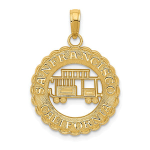 14k Yellow Gold San Francisco California Cable Car Pendant - The Black Bow Jewelry Co.