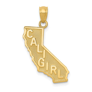 14k Yellow Gold Cali Girl State Pendant - The Black Bow Jewelry Co.