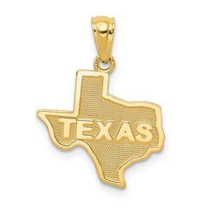 14k Yellow Gold State of Texas Pendant - The Black Bow Jewelry Co.