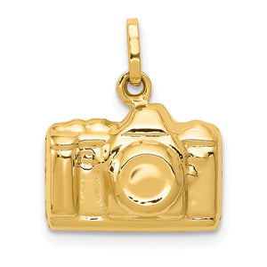 14k Yellow Gold 3D Polished Camera Charm - The Black Bow Jewelry Co.