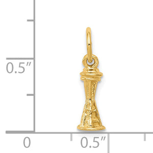 Alternate view of the 14k Yellow Gold Mini 3D Seattle Space Needle Charm by The Black Bow Jewelry Co.