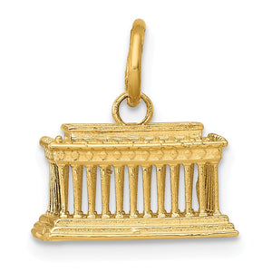 14k Yellow Gold 3D Lincoln Memorial Charm - The Black Bow Jewelry Co.