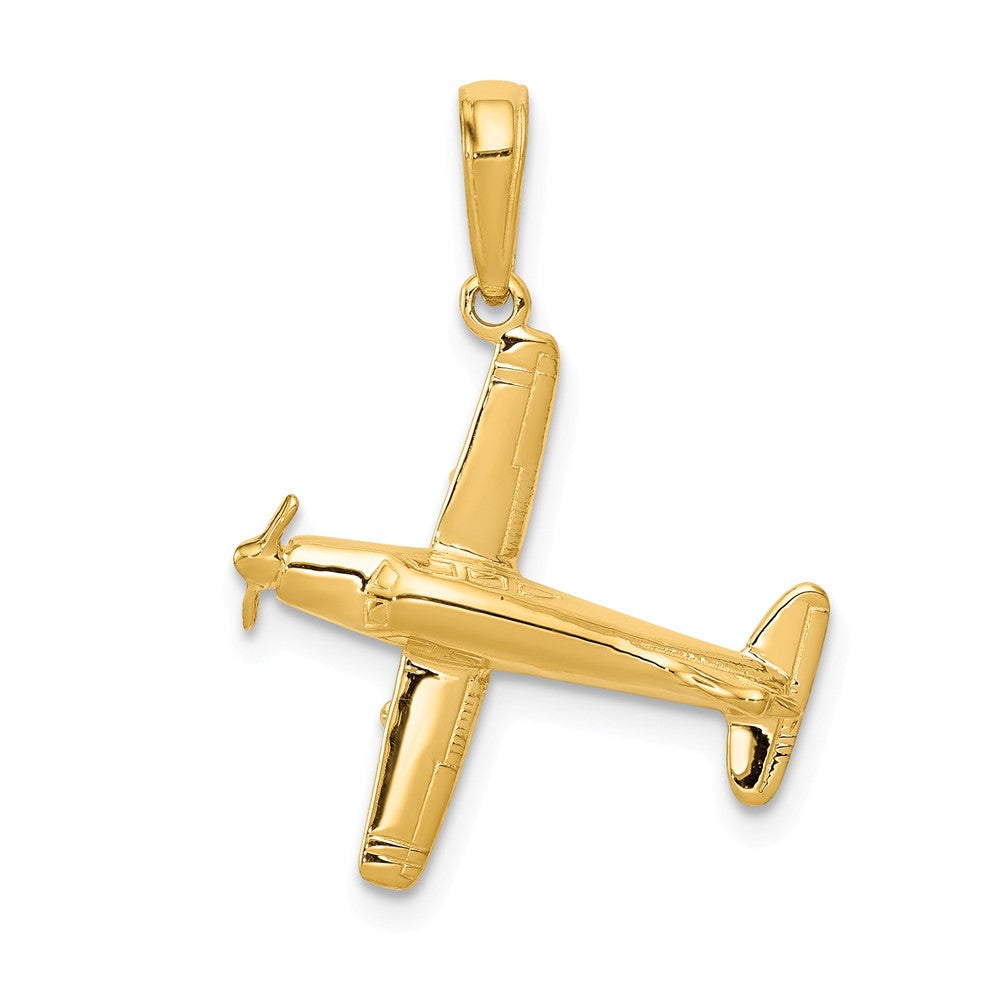 14k Yellow Gold 3D Low-Wing Airplane Pendant, Item P10056 by The Black Bow Jewelry Co.