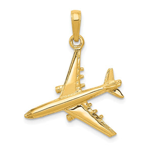 14k Yellow Gold 3D Jet Polished Pendant - The Black Bow Jewelry Co.