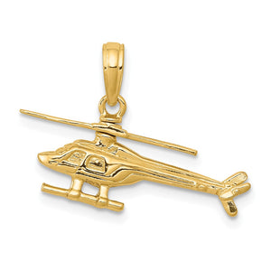 14k Yellow Gold 3D Moveable Helicopter Pendant - The Black Bow Jewelry Co.