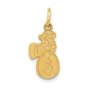 14k Yellow Gold Money Bag Charm - The Black Bow Jewelry Co.