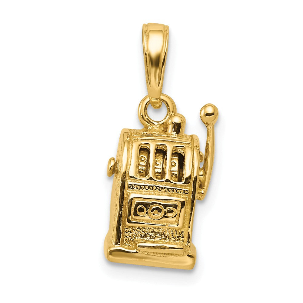 14k Yellow Gold 3D Moveable Slot Machine Pendant, Item P10105 by The Black Bow Jewelry Co.