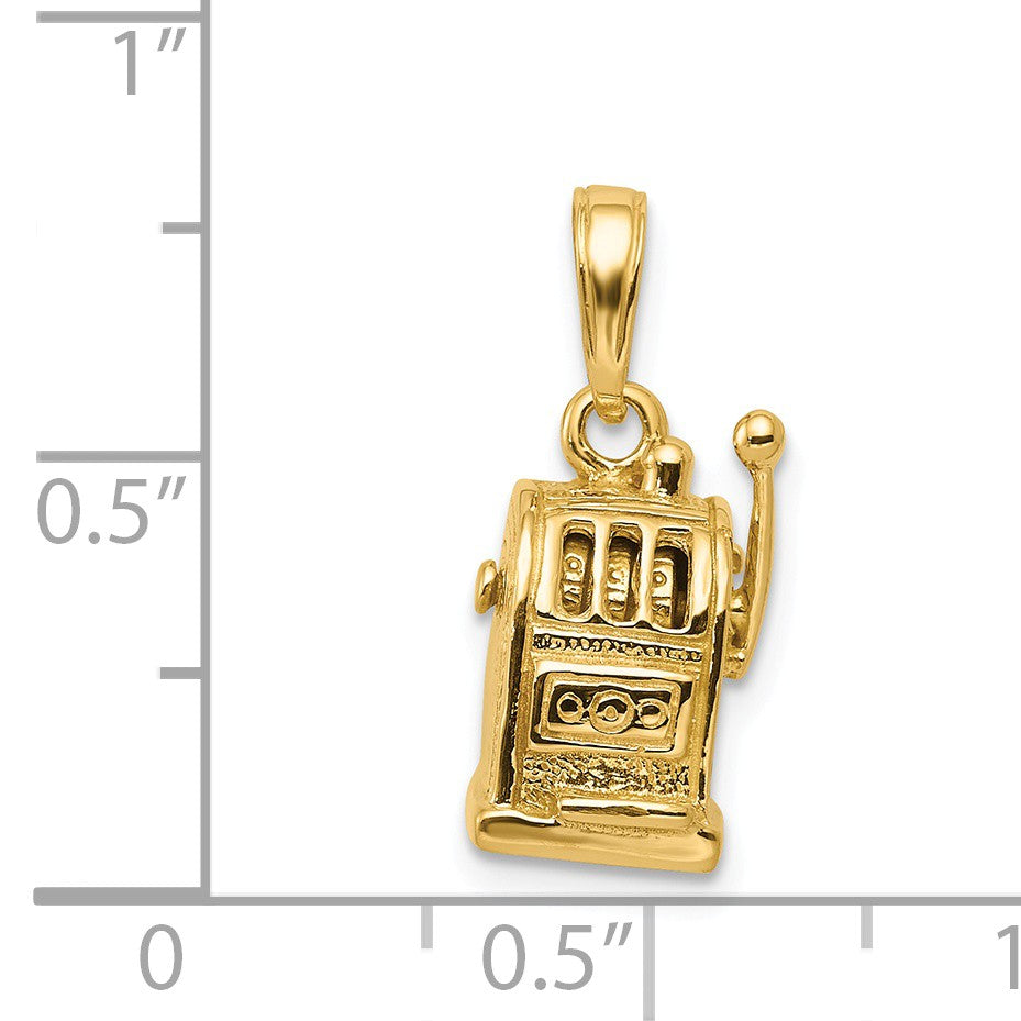 Alternate view of the 14k Yellow Gold 3D Moveable Slot Machine Pendant by The Black Bow Jewelry Co.