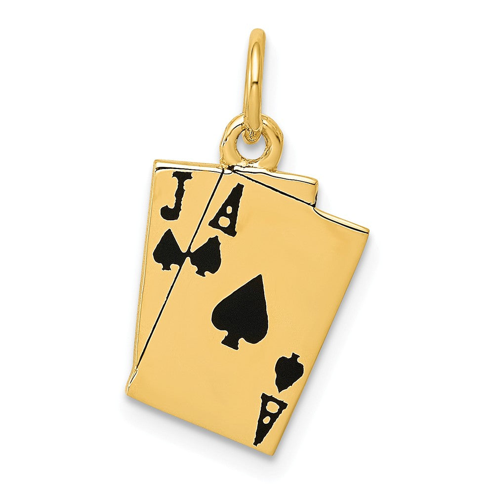 14k Yellow Gold Enameled Blackjack Playing Cards Charm, Item P10110 by The Black Bow Jewelry Co.
