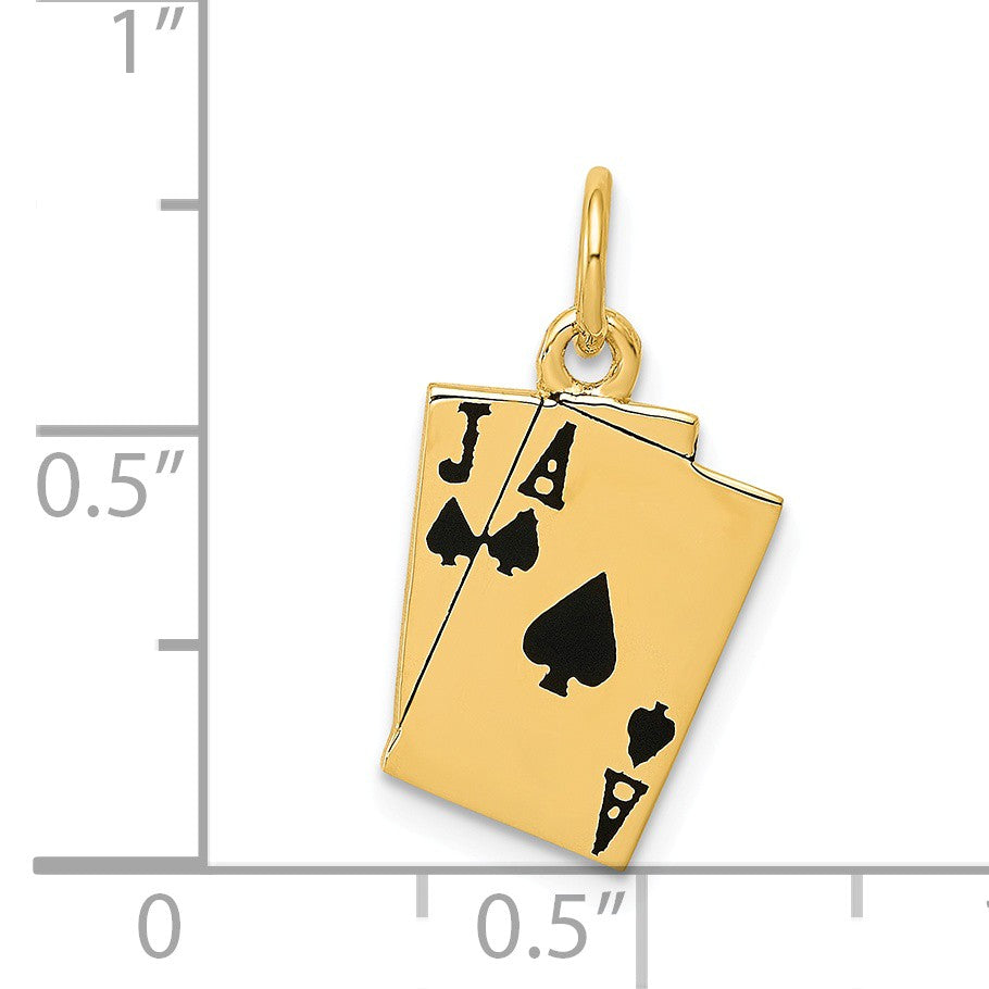 Alternate view of the 14k Yellow Gold Enameled Blackjack Playing Cards Charm by The Black Bow Jewelry Co.
