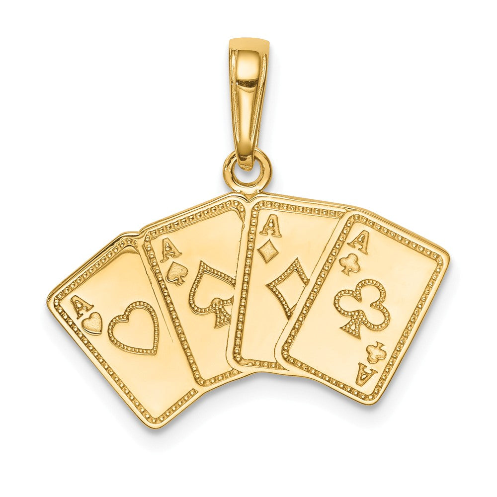 14k Yellow Gold Four of a Kind Aces Playing Cards Pendant, Item P10112 by The Black Bow Jewelry Co.