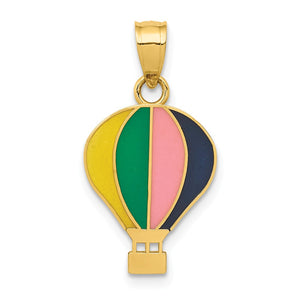 14k Yellow Gold and Enamel Multi-Colored Hot Air Balloon Pendant - The Black Bow Jewelry Co.