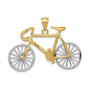 14k Two Tone Gold Large 3D Bicycle Pendant - The Black Bow Jewelry Co.