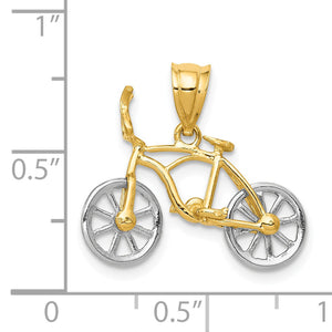 Alternate view of the 14k Two Tone Gold Small 3D Bicycle Pendant by The Black Bow Jewelry Co.
