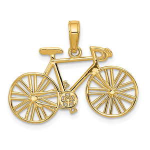 14k Yellow Gold Satin and Diamond Cut Bicycle Pendant - The Black Bow Jewelry Co.