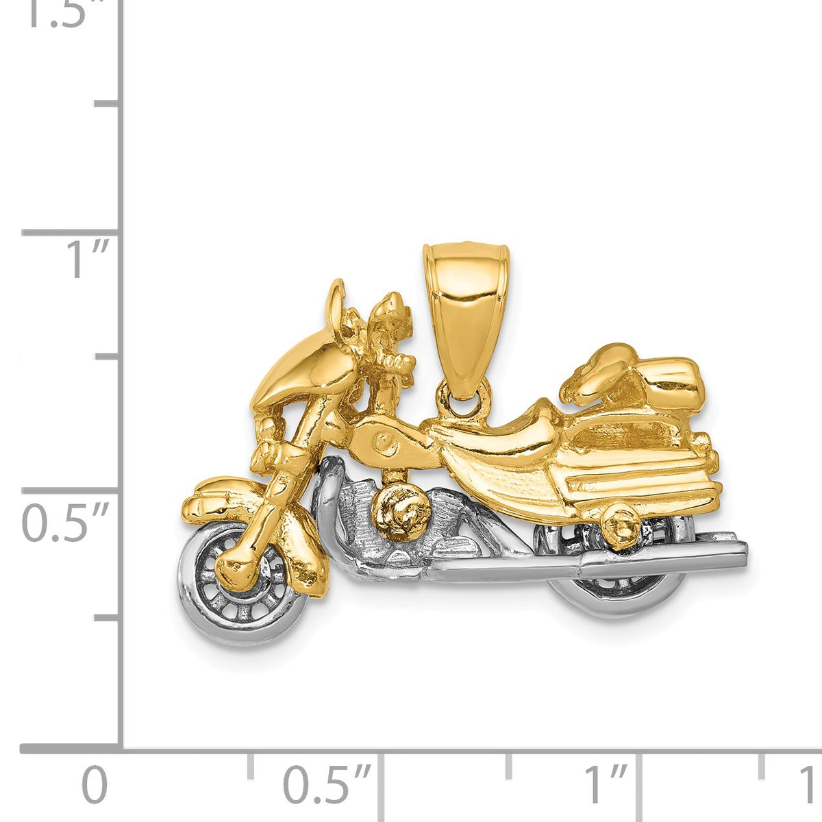 Alternate view of the 14k Two Tone Gold 3D Moveable Motorcycle Pendant by The Black Bow Jewelry Co.