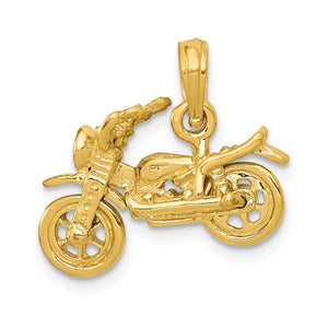 14k Yellow Gold 3D Moveable Motorcycle Pendant - The Black Bow Jewelry Co.