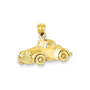 14k Yellow Gold Classic Antique Car Polished Pendant - The Black Bow Jewelry Co.