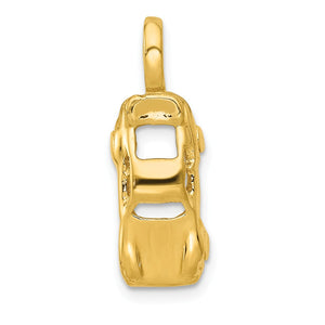 14k Yellow Gold 3D Sports Car Charm - The Black Bow Jewelry Co.