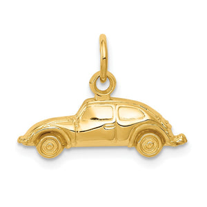 14k Yellow Gold Polished Car Charm - The Black Bow Jewelry Co.