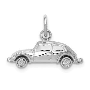 14k White Gold Polished Car Charm - The Black Bow Jewelry Co.