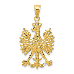 14k Yellow Gold Polish Eagle Pendant - The Black Bow Jewelry Co.