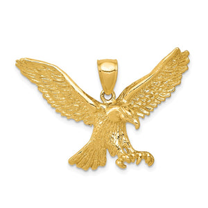 14k Yellow Gold Large Flying Eagle Pendant - The Black Bow Jewelry Co.