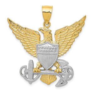 14k Two Tone Gold U.S. Navy Eagle Pendant - The Black Bow Jewelry Co.