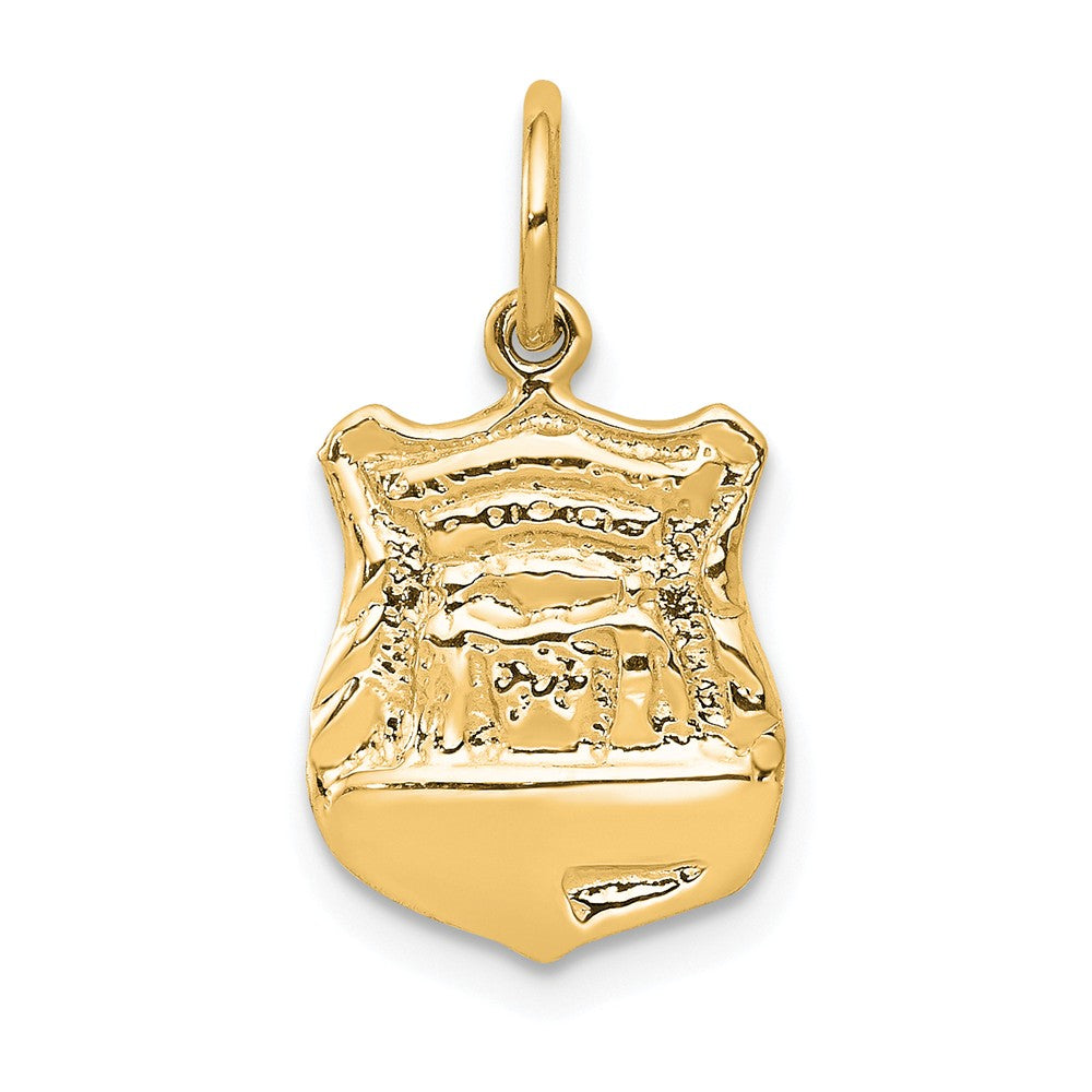 14k Yellow Gold Police Badge Charm, Item P10191 by The Black Bow Jewelry Co.